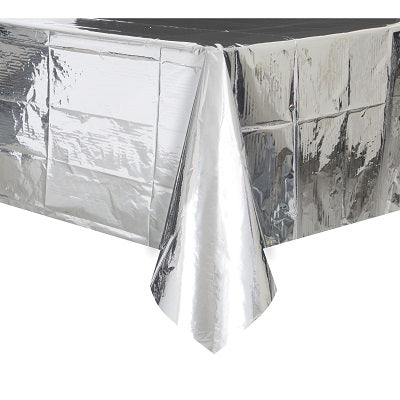 Metallic Silver Plastic Tablecloth