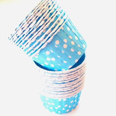 Turquoise Blue Dot Baking Cups (25 pack)