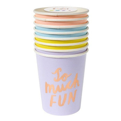 Pastel Typographic Cups (8 pack)