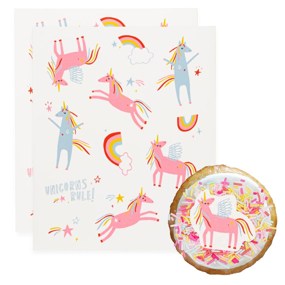 Unicorns Rule Stickies Edible Decorating Stickers (24 pack)
