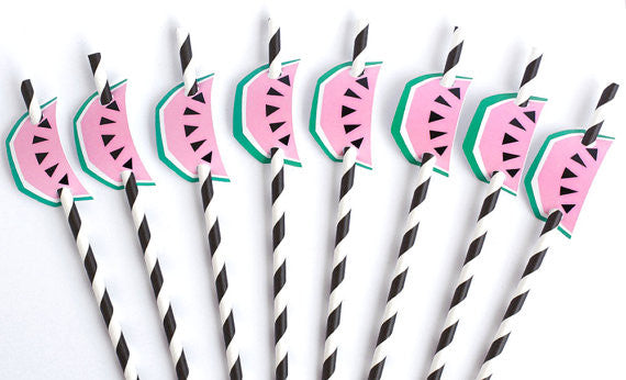 Geo Watermelon Straw Flags (8 pack)