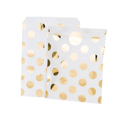 White & Gold Dot Treat Bags (8 pack)