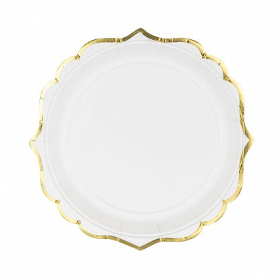 White & Gold Dessert Plates (6 pack)