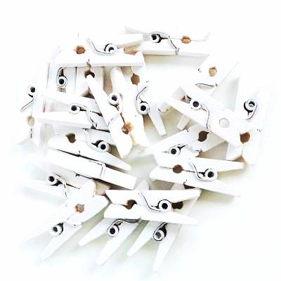 White Mini Wooden Pegs (20 pack)