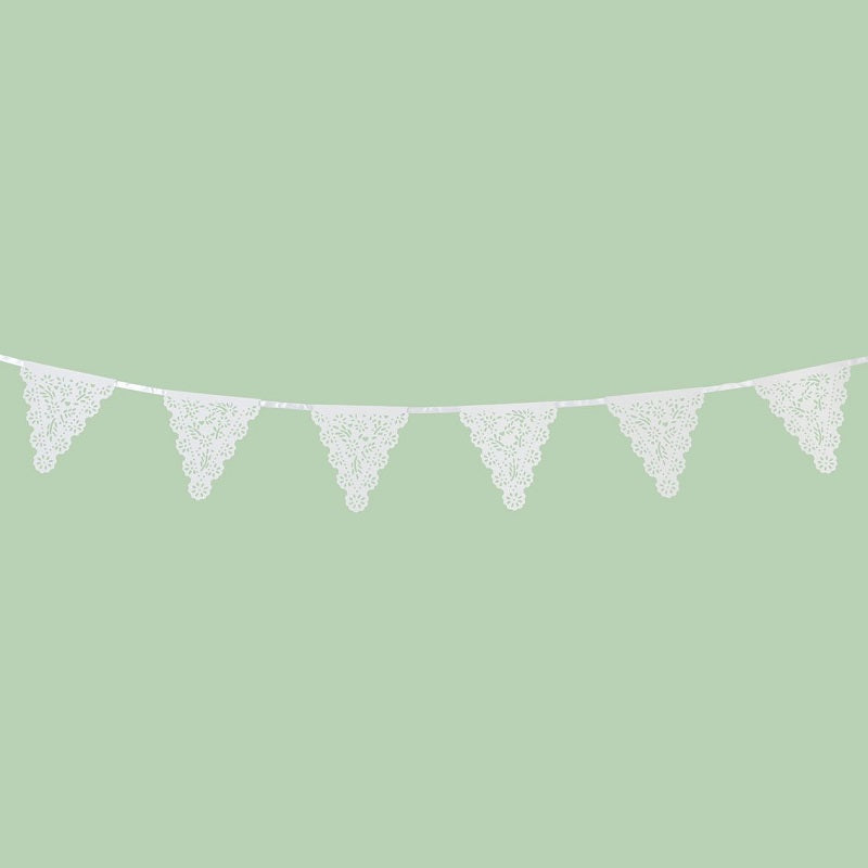 White Paper Lace Flag Garland