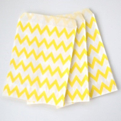 Yellow Chevron Party Bags (10 pack)