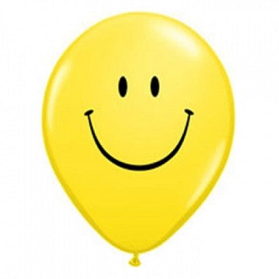 Yellow Smiley Face Mini 12cm Balloons (5 pack)