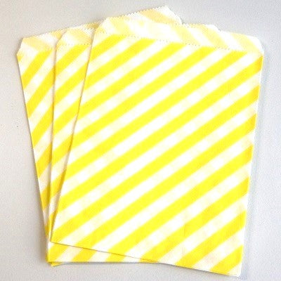 Yellow Striped Party Bags (10 pack)