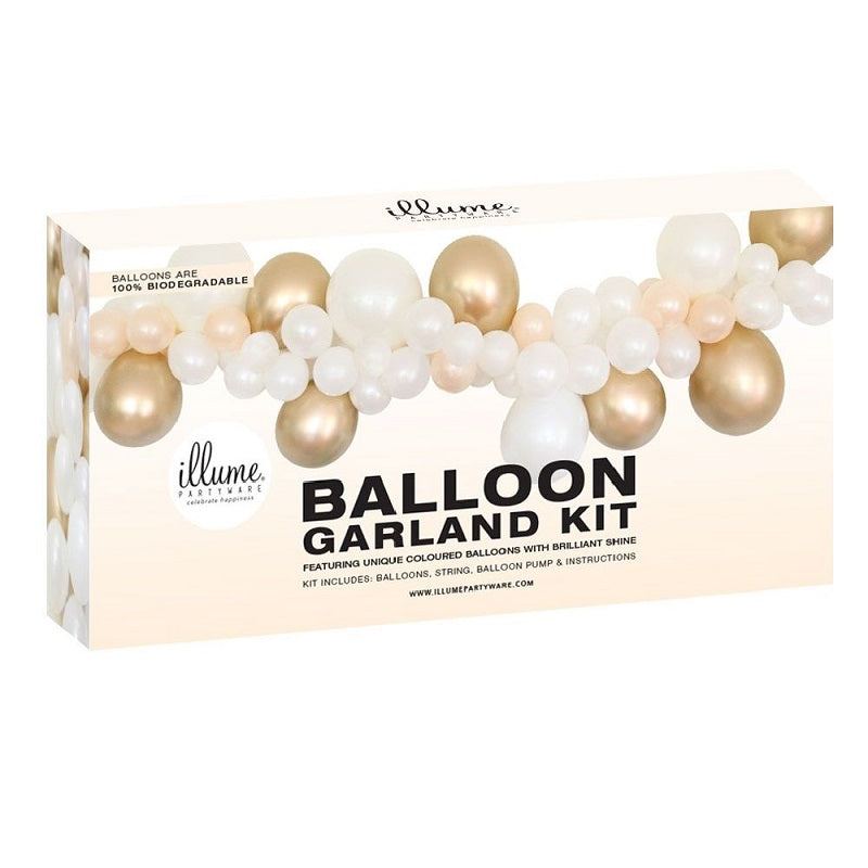 Gold & White Balloon Garland Kit
