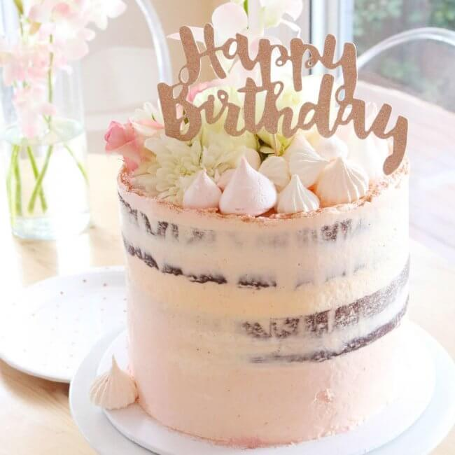 Happy Birthday Rose Gold Glitter Cake Topper