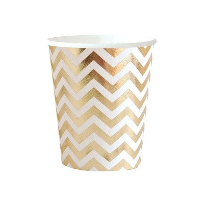 Gold Chevron Cups (10 pack)