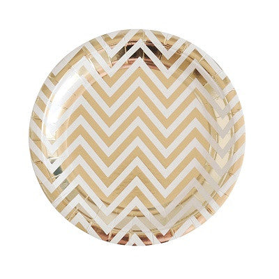 Gold Chevron Dessert Plates (10 pack)