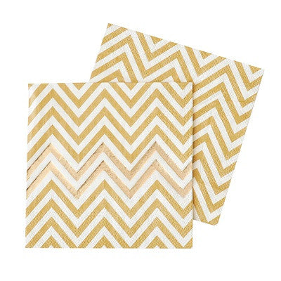 Gold Chevron Paper Napkins (20 pack)