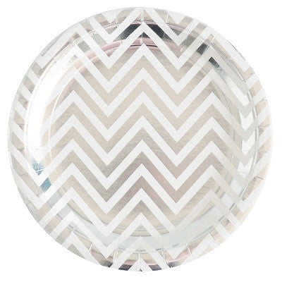 Silver Chevron Plates (12 pack)