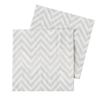 Silver Chevron Paper Cocktail Napkins (20 pack)