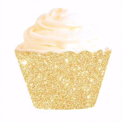 Gold Glitter Cupcake Wrappers (12 pack)