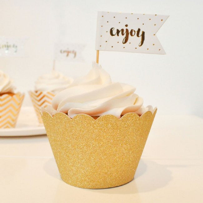 Gold Glitter Cupcake Wrappers 12 Pack