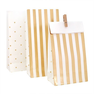 Gold Stripes & Dots Treat Bags (10 pack)