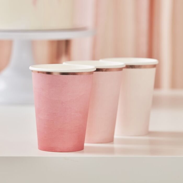Ombre Pink & Rose Gold Cups (8 pack)