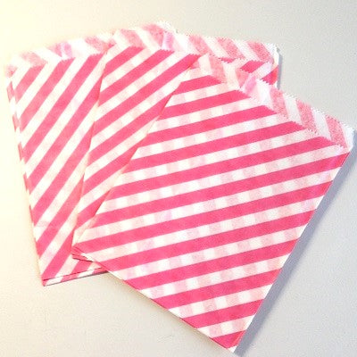 Candy Pink Striped Party Bags (10 pack)