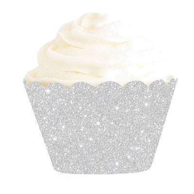 Light Blue Glitter Cupcake Wrappers Mini Dessert Holders Birthday Party Decorations Set of 12