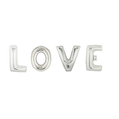 Silver Giant 'LOVE' Balloons