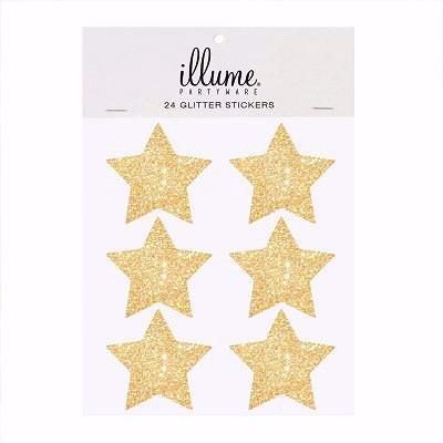 Gold Glitter Star Stickers (24 pack)