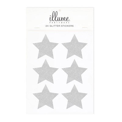 Silver Glitter Star Stickers (24 pack)