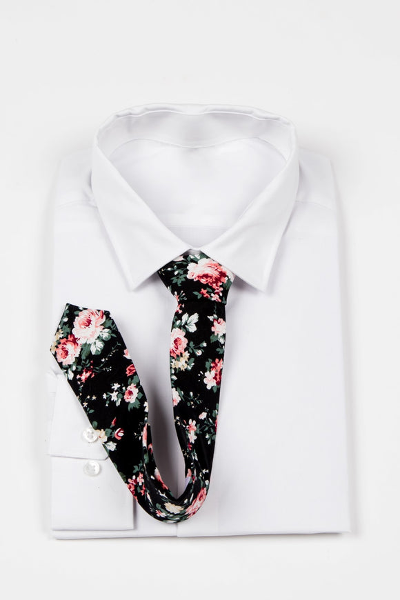 James - JCclick Shop Black Floral Skinny tie-Localizedrsa -Enhance your RSA online shopping experience with localizedrsa, with 10 shopping departments to choose from!-Buy online in South Africa-www.localizedrsa.co.za