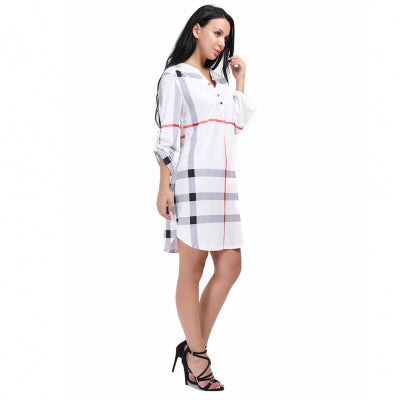 Delicate Knee Length Button Plaid Dress Round Cut Hemline-Localizedrsa -Enhance your RSA online shopping experience with localizedrsa, with 10 shopping departments to choose from!-Buy online in South Africa-www.localizedrsa.co.za
