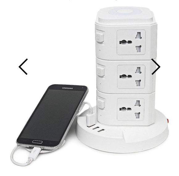 MULTI ADAPTOR TOWER WITH LIGHT - WHITE