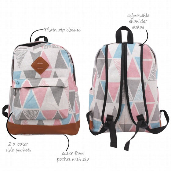 Jenam canvas backpack (Trendy triangle)-Localizedrsa -Enhance your RSA online shopping experience with localizedrsa, with 10 shopping departments to choose from!-Buy online in South Africa-www.localizedrsa.co.za