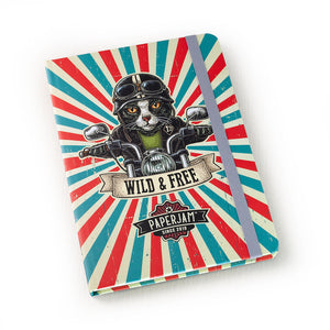 Designer Hardcover A5 Journal - Biker Cat - Wild & Free