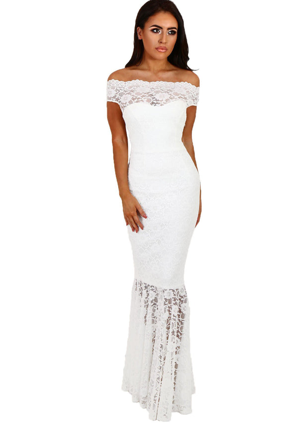 Vertigo Lace Off Shoulder Mermaid Gown - White-Localizedrsa -Enhance your RSA online shopping experience with localizedrsa, with 10 shopping departments to choose from!-Buy online in South Africa-www.localizedrsa.co.za