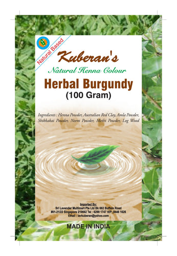 herbal burgundy hair powder