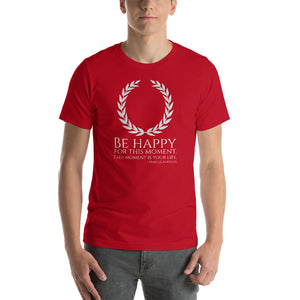 Stoic Philosophy Emperor Marcus Aurelius Quote On Happiness Short-Sleeve Unisex T-Shirt