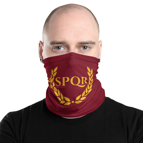 Anti Barbarian Red Laurel Wreath SPQR Neck Gaiter