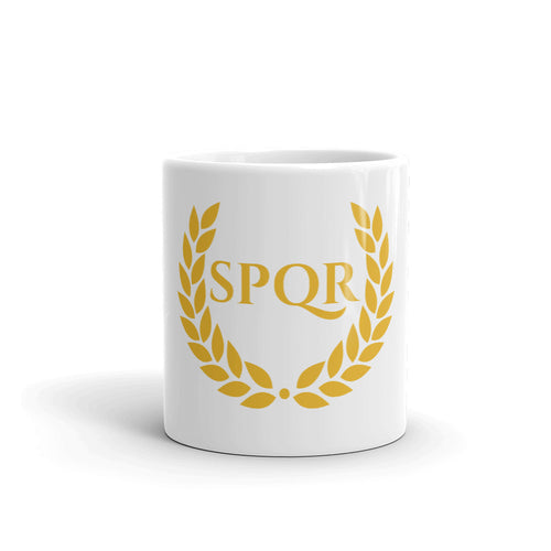 SPQR Laurel Wreath Ancient Rome Coffee Mug
