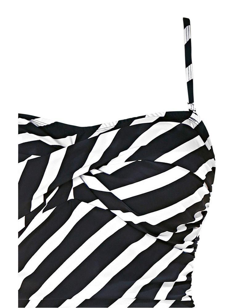 Women Sexy Plus Size One Piece Stripe Printed Swimsuit