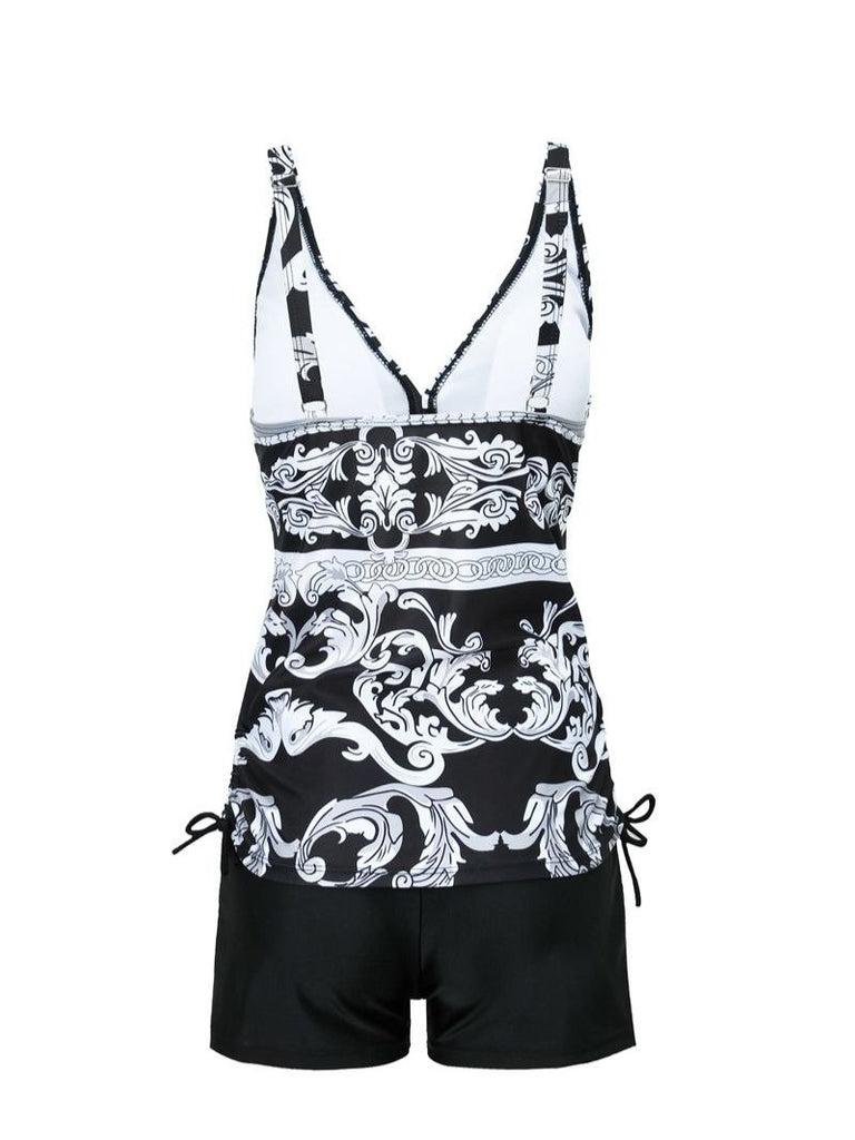 Floral Print V-neck Sleeveless Low-waisted Tankini Set