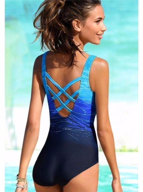Womens Swimming Costume Padded Swimsuit Monokini Push Up one piece Swimwear