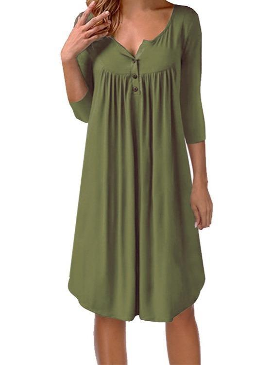 Plus Size Round-neck Long Sleeve Dress