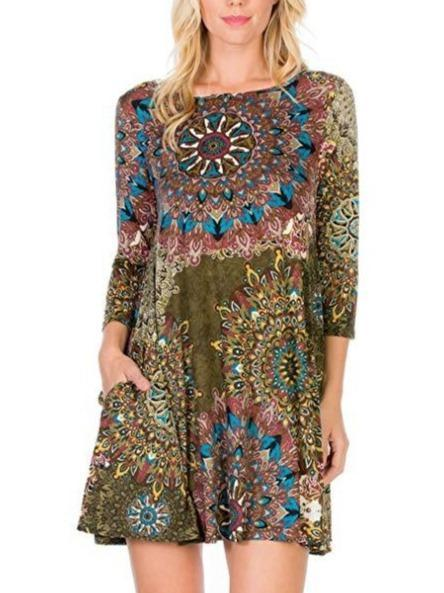 Chic Printed 3/4 Round-neck Long Sleeve Dress