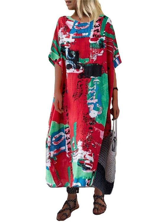 Womens Printed Short Sleeve Scoop Neck Maxi Dress S - 3XL
