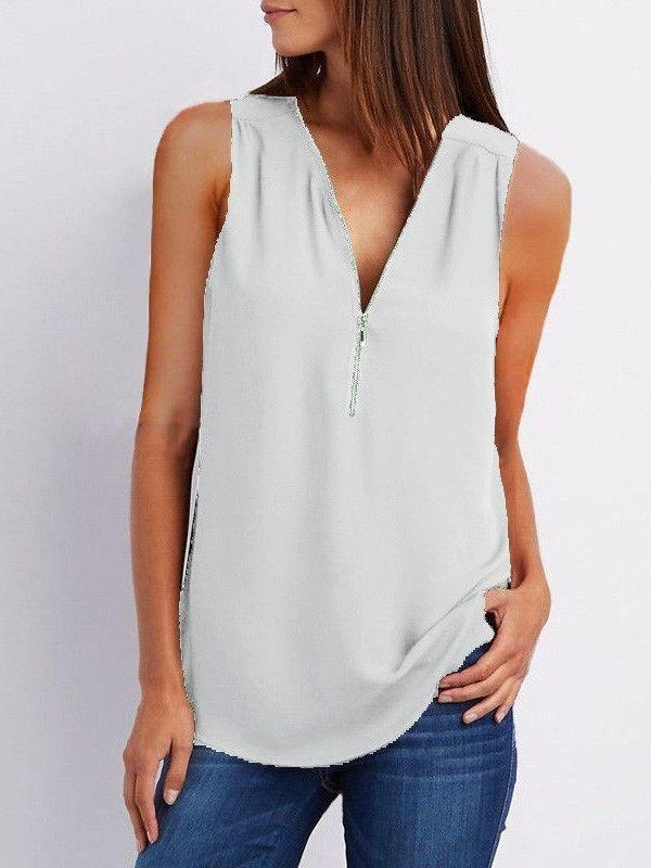 Womens Zipper V-neck Sleeveless Tops Chiffon Casual Vest Blouse Ladies T Shirt Top Plus Size