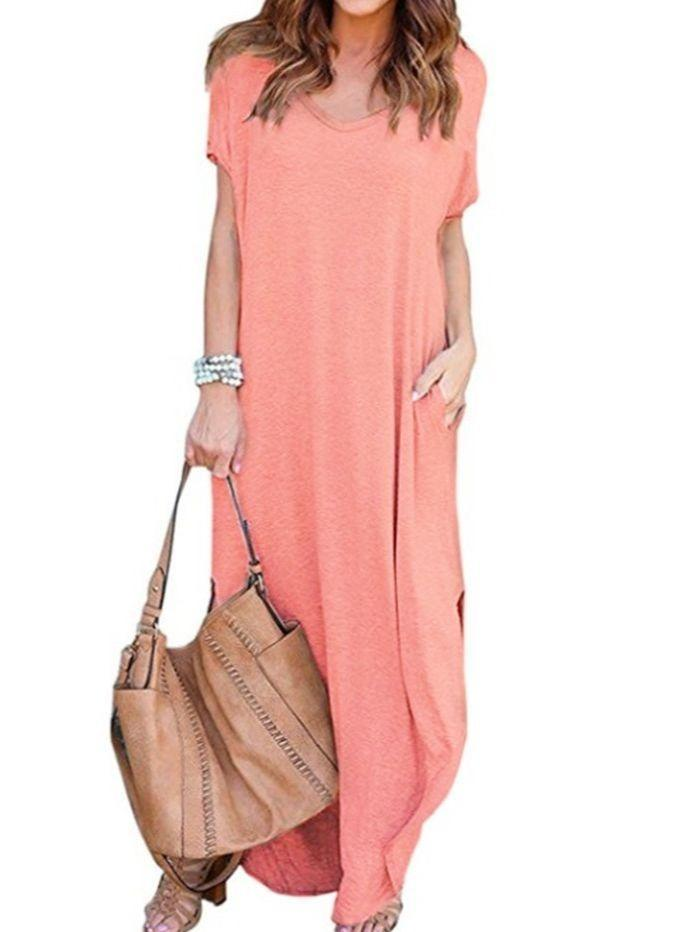 Women's Beach Dress Casual Loose Pocket Long Dress Short Sleeve Split Maxi Dresses