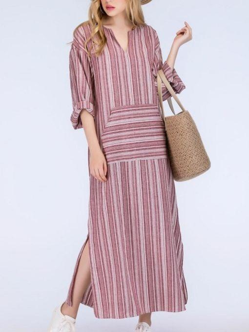 Women Plus Size Short Sleeve Loose Linen Maxi Dress