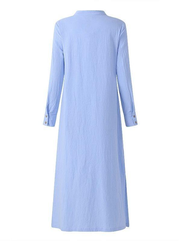 Women Plus Size Long Sleeve Loose Linen Maxi Dress