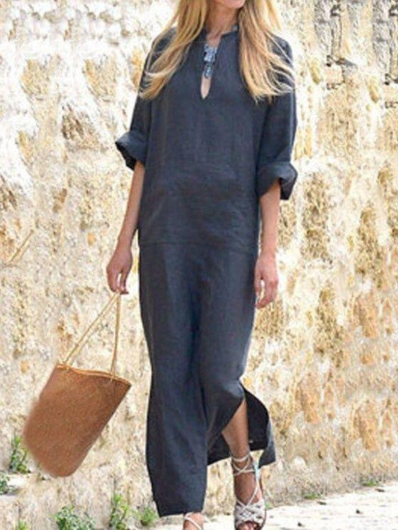 Women Plus Size Half Sleeve Loose Linen Maxi Dress with Pocket