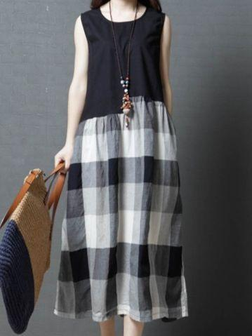 Women Plus Size Sleeveless Loose lattice Linen Maxi Dress